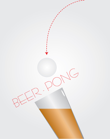 Entertainment for bars - beer ping pong. Vector illustration