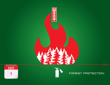 Post card Protection Forests Against Fire Day. Vector illustration.
