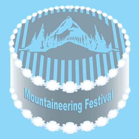 Classic round cake for Mountaineering Festival with an ornament on the edge and mountain.