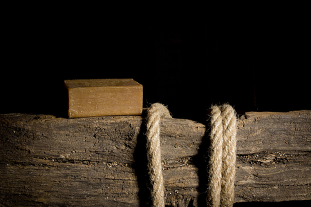 Rope and soap is not an old wooden crossbar