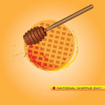 Honey dripping with scoop in National Waffle Day