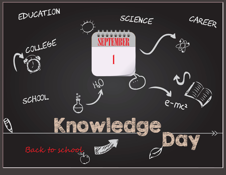 Calendar events of back to school - post card for Knowledge Day