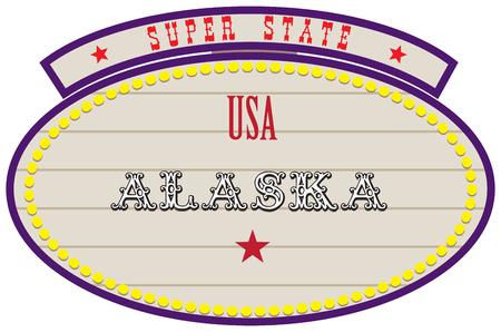 Road Retro Index Super State USA - Alaska Иллюстрация