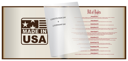 Open book for Constitution Day and Citizenship Day  with Bill of Rights