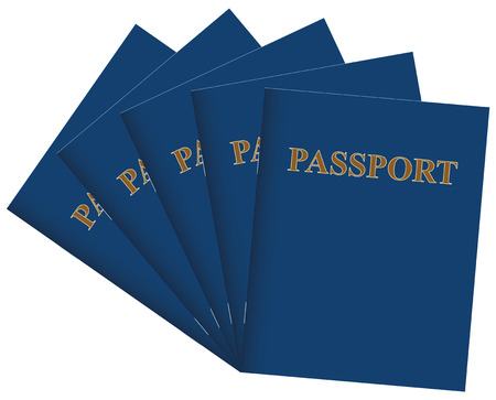Several blank passports in blue.