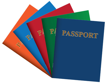 A set of passports from different countries.