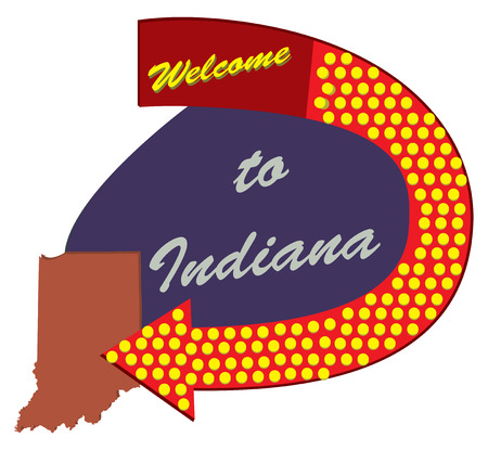 Old road sign Welcome to Indiana, constructed and styled fifties