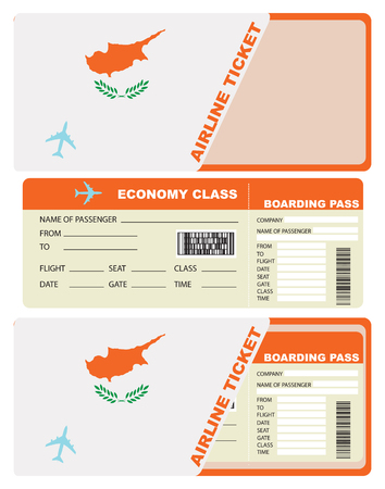 Plane ticket economy class in Cyprus. Vector illustration. Çizim
