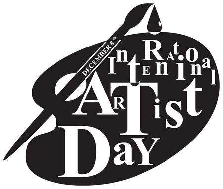 Symbolic palette for International Artist Day. Vector illustration.