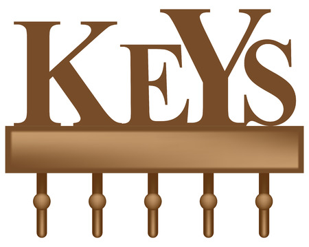 Decorative key organizer rack with five hooks 일러스트