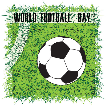 Soccer ball on the field with a marking - World Football Day Stock Illustratie