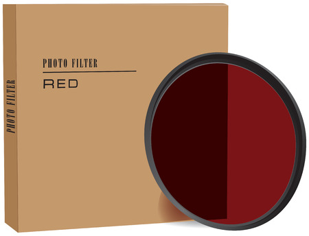 Red photo filter with cardboard packaging. Vector illustration.