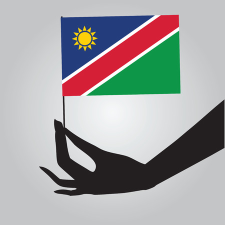 Flag of Namibia in a female hand. Vector illustration.  イラスト・ベクター素材