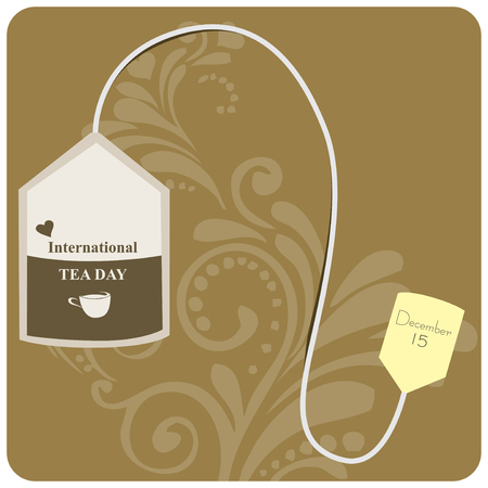 Banner to the International Tea Day. Tea bag.