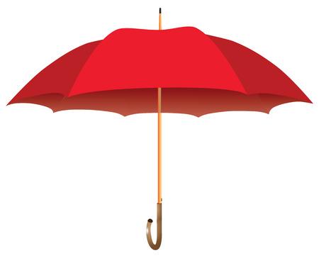 Bastón de paraguas rojo masculino. Abrió. Ilustración vectorial. Ilustración de vector