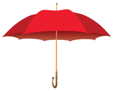 Male red umbrella cane. Opened. Vector illustration. Illusztráció
