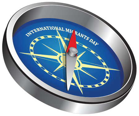 Creative compass pointing to event - International Migrants Day