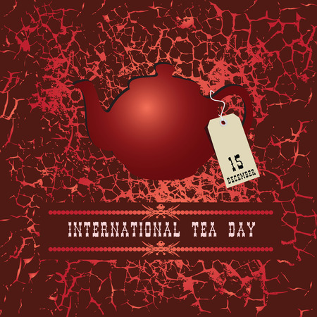 Poster World Tea Day, teapot with a label December 15
