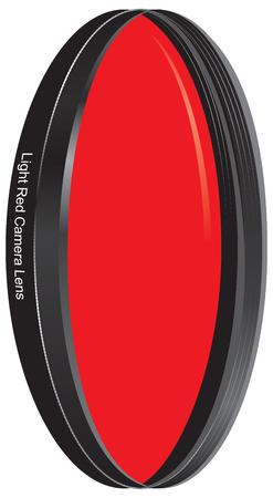 Light red camera lens for camera lens. Vector illustration. 向量圖像