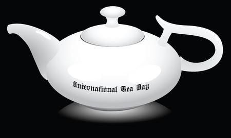 Ceramic teapot for International tea day. Vector illustration.
