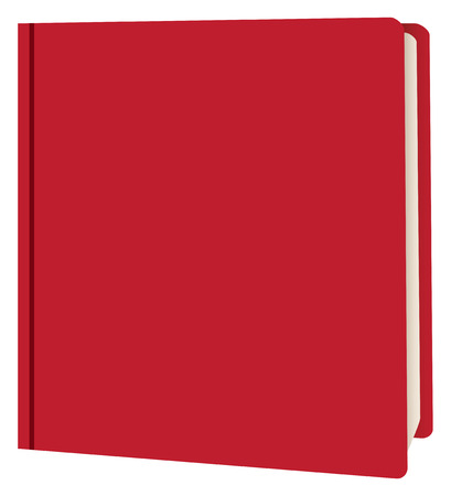 Ajar book in red binding. Vector illustration. Stock Illustratie