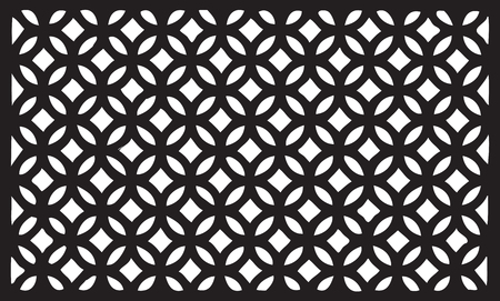 Decorative grille segment for outdoor fence. Vector illustration.