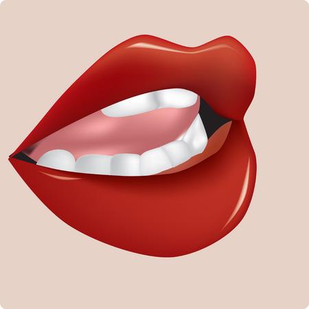 Boca entreabierta femenina con labios rojos brillantes Ilustración de vector