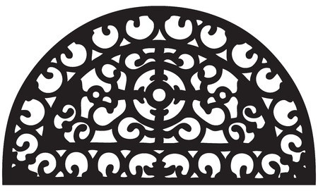 Oval grille segment for outdoor fence. Vector illustration.