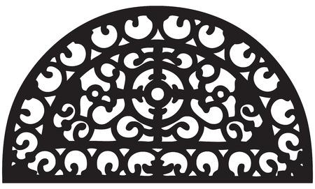 Segmento di griglia ovale per recinzione esterna. Illustrazione vettoriale. Vettoriali
