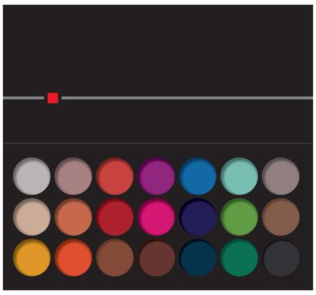 Einundzwanzig Farbvarianten von Lidschattenpigmenten in hellem Pech