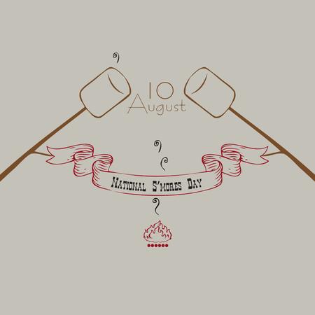 Banner National S'mores Day Illustration