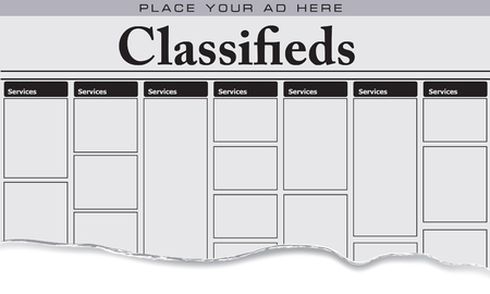 The first page of newspaper classifieds for Services, Place your ad here