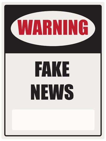 Industrial signpost warning of fake news. Vector illustration 写真素材 - 115852394