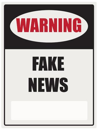 Industrielle Wegweiser-Warnung vor gefälschten Nachrichten. Vektor-Illustration