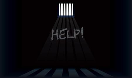 Le mot aide est écrit sur le mur de la cellule de prison.