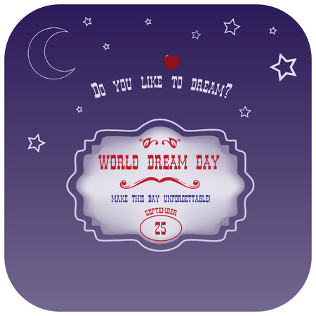 World Dream Day. Poster Do you like to dream? Ilustração