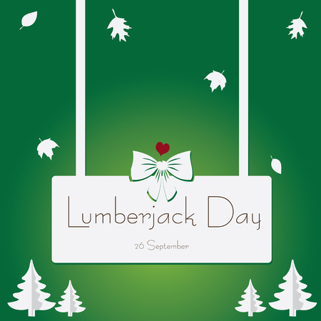 Banner for lumberjack day with elements of the forest