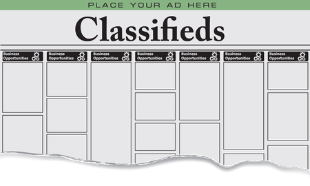 The first page of newspaper classifieds for business opportunities, Place your ad here