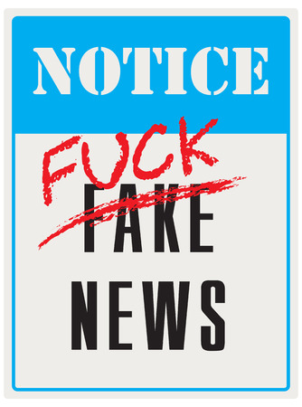 Pointer notifying that fake news. Vector illustration