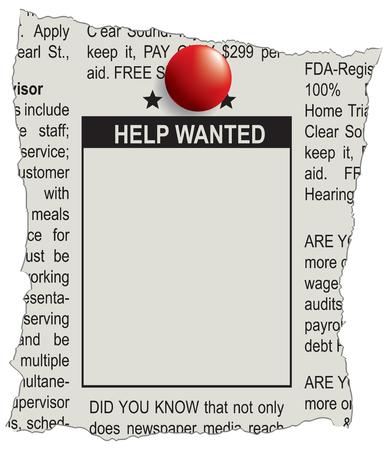 Posto nel giornale degli annunci per l'aiuto pubblicitario voluto. Vettoriali