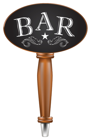 Handle for beer tap with oval top chalk board with text bar Illustration