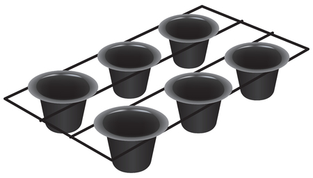 Professional set six cup pan for popover. Vector illustration.