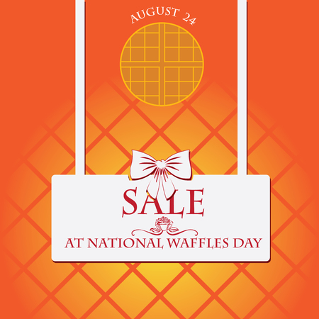 Sale at National waffles day. Poster for companies celebrating a holiday and selling waffles Ilustração