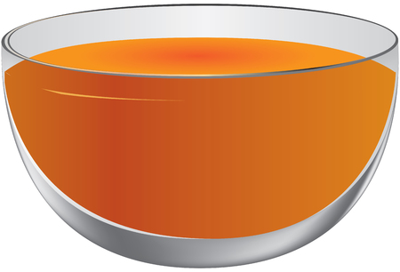 Large oval bowl with punch. Vector illustration Ilustração