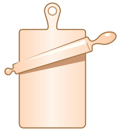 Rolling pin on a cutting board. Vector illustration.