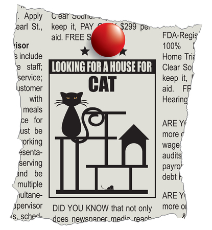 Classified ad - looking for a house for a cat Illustration
