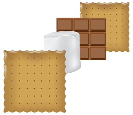 Classic layering ingredients for Smores. Vector illustration