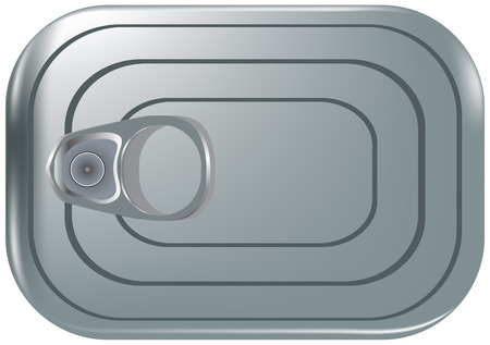 Rectangular closed tin can - classic packaging for fish products Illustration