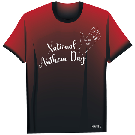 T-shirt for National Anthem Day - Your hand is here! 写真素材 - 124738952