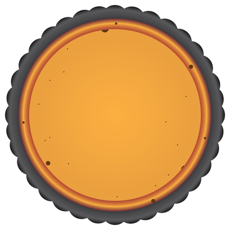 Round cake pan with baked cake. Vector illustration. Illustration